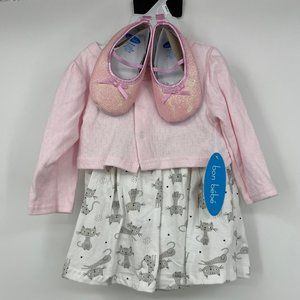 bon bebe 3 piece cat dress set with pink shoes NEW